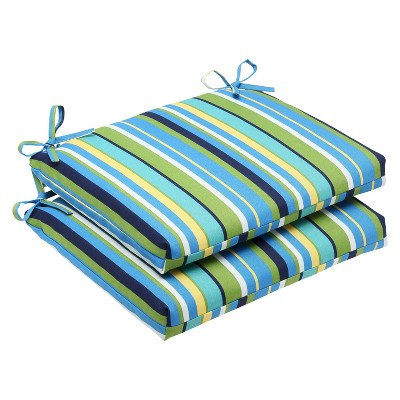Pillow Perfect™ 2-Piece Outdoor Square Edge Seat Cushions - Topanga Stripe