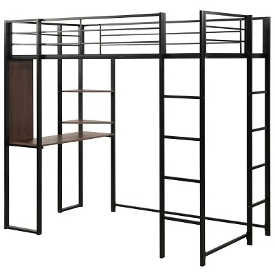 Costway Twin Size Metal Loft Bunk Bed Space-Saving Workstation Loft Bed w/ Bookcase