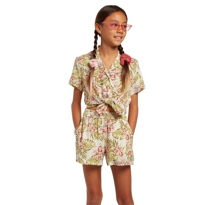 Volcom Girls Not Real Shore Floral Elastic Waist Short