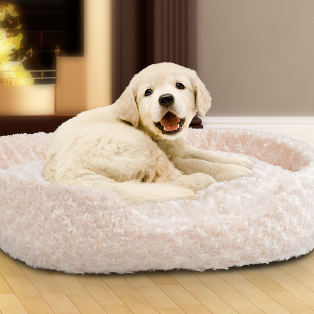 Petmaker Small Cuddle Round Plush Pet Bed - Ivory, Ivory Cumin