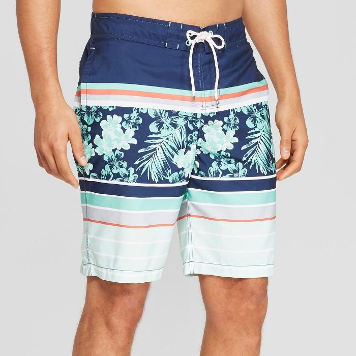 "Men's 9"" Striped Swim Trunks - Goodfellow & Co™ Mint - image 1 of 3"