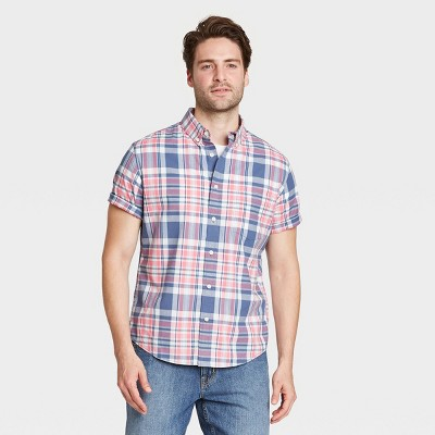 Men's Regular Fit Stretch Poplin Short Sleeve Button-Down Shirt - Goodfellow & Co™