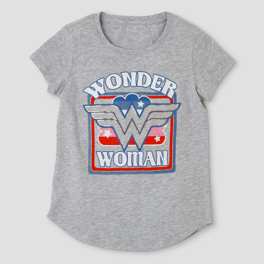 Girls' DC Comics Wonder Woman Short Sleeve T-Shirt - Heather Gray L