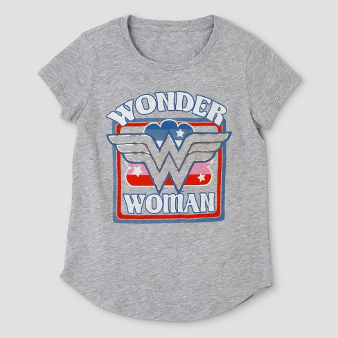 Girls' DC Comics Wonder Woman Short Sleeve T-Shirt - Heather Gray - image 1 of 2