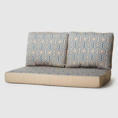 Rolston 3pc outdoor Replacement Loveseat Sofa Cushion Set Geometric - Haven Way