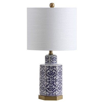 "23.5"" Diana Ginger Jar Ceramic/Metal LED Table Lamp Blue (Includes Energy Efficient Light Bulb) - JONATHAN Y"