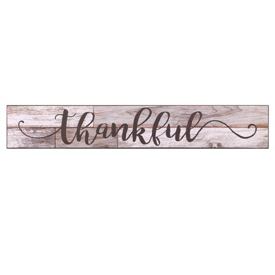 6 x36  Thankful Rustic Wood Wall Art Gray - Patton Wall Decor