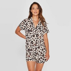Women's Leopard Print Beautifully Soft Notch Collar Pajama Set - Stars Above™ Oatmeal