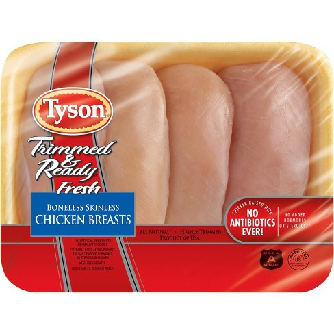 Tyson Trimmed & Ready Boneless & Skinless Chicken Breast - 1-2.11lbs - priced per lb - image 1 of 3
