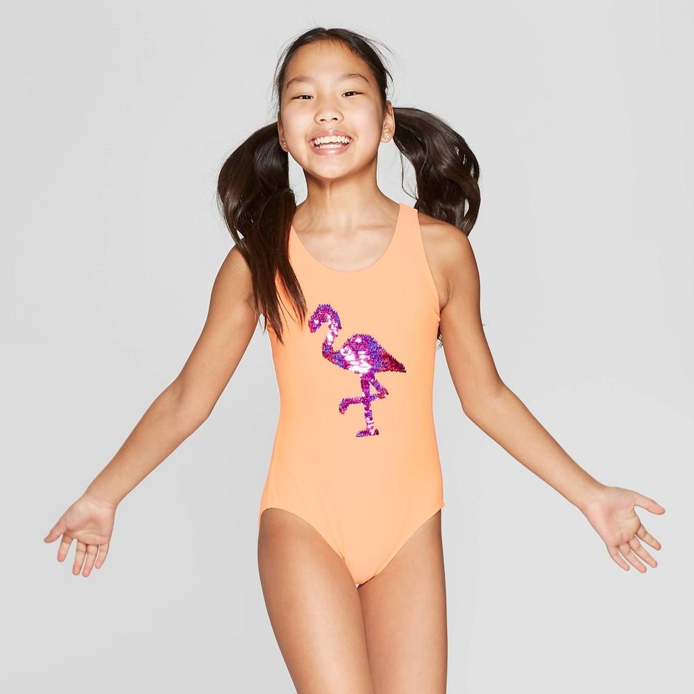 Girls' Flip Sequins Flamingo Frenzy One Piece Swimsuit - Cat & Jack Orange M