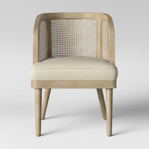 Juniper Cane and White Washed Wood Barrel Chair - Opalhouse™ - image 1 of 4