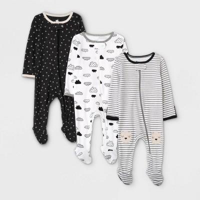 Baby 3pk Zip-Up Sleep N' Play - Cloud Island™ Black/White 0-3M
