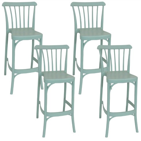 Woodway 4pk Plastic Patio Barstool Chair - Light Green - Sunnydaze Decor - image 1 of 4