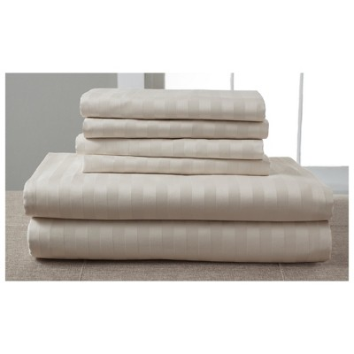 Luxury Estate Woven Stripe 1200 Thread Count Cotton Sheet Set (King)Sand - Elite Home Products