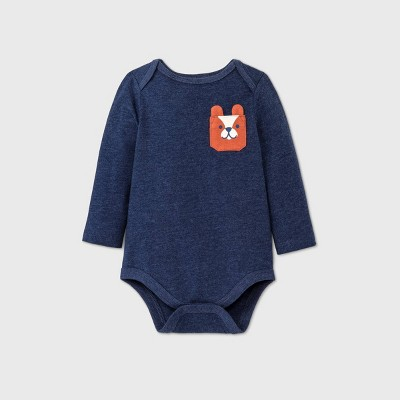 Baby Boys' Bear Pocket Long Sleeve Bodysuit - Cat & Jack™ Blue 0-3M