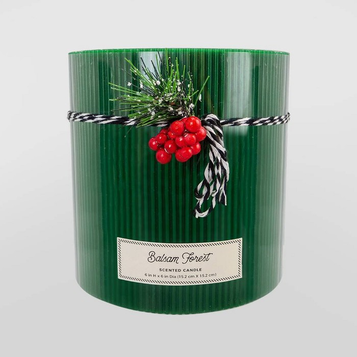 """6"""" x 6"""" Pillar 3-Wick Candle Balsam Forest - Threshold™ - image 1 of 1"""