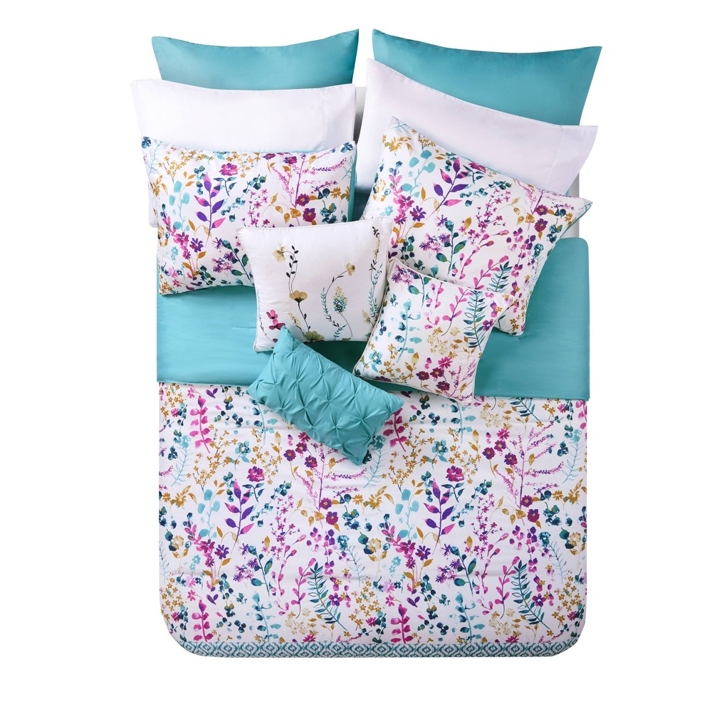 Queen 12pc Timeless Comforter Set Aqua/Purple - Vcny Home, Multicolored