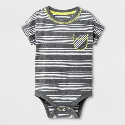 Baby Boys' Short Sleeve Bodysuit with Chest Pocket - Cat & Jack™ Dark Gray 3-6M