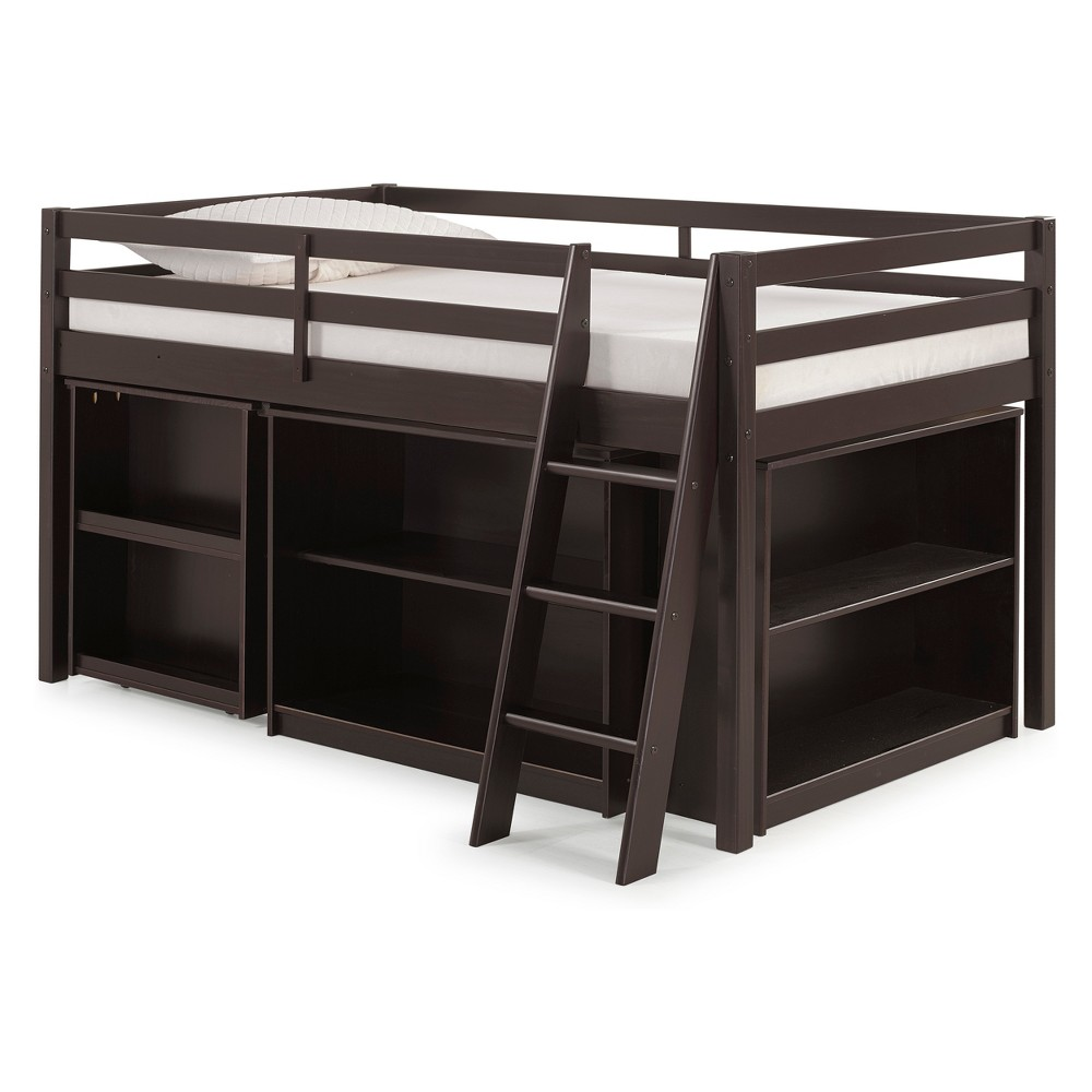 Roxy Junior Loft Bed With Pull-out Desk, Shelving And Bookcase Espresso (Brown)
