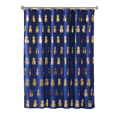 Pineapple Fruit Shower Curtain Navy - Saturday Knight Ltd.