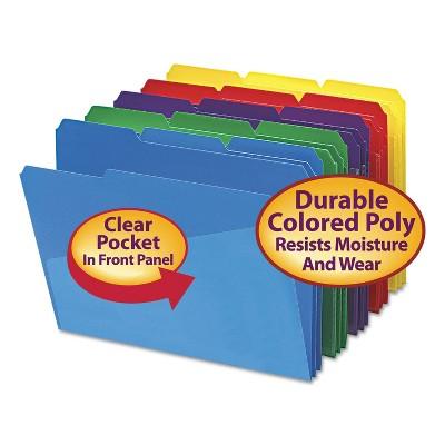 Smead Slash Pocket Poly File Folders 1/3 Cut Top Tab Letter Assorted 30/Box 10540