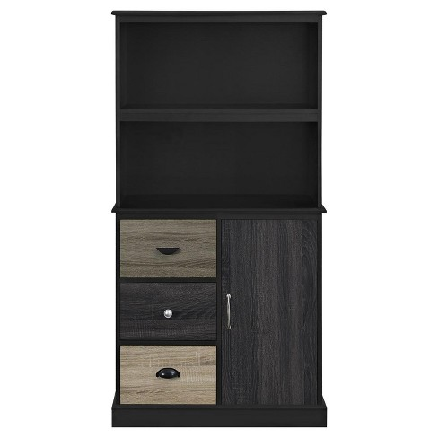 "57"" Montgomery Storage Bookcase With Multicolored Door and Drawer Fronts - Black - Room & Joy - image 1 of 5"