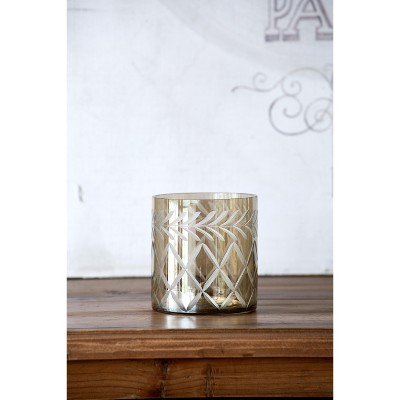 Park Hill Collection Smokey Glass Etched Votive