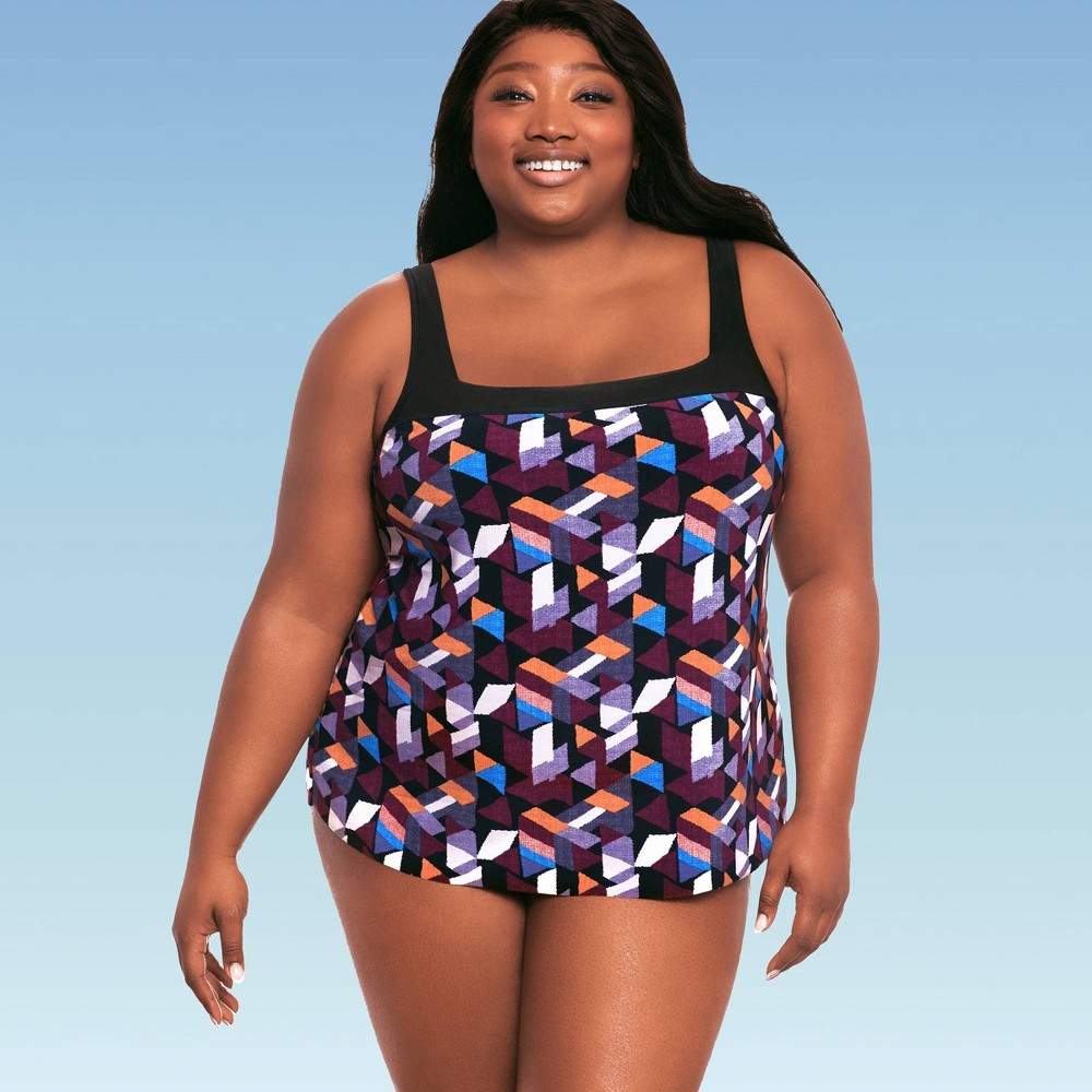 Image of Women's Plus Contrast Trim Over The Shoulder One Piece Swimsuit - Dreamsuit by Miracle Brands 16W, Women's, MultiColored