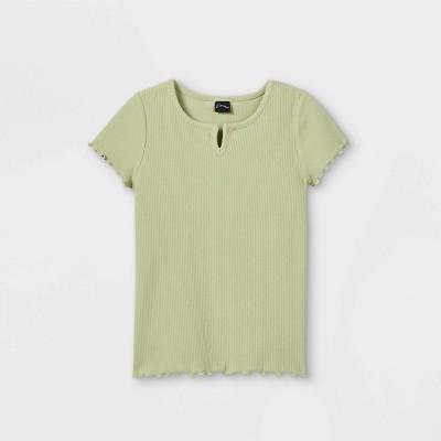 Girls' Notch Front Pointelle Short Sleeve T-Shirt - art class™