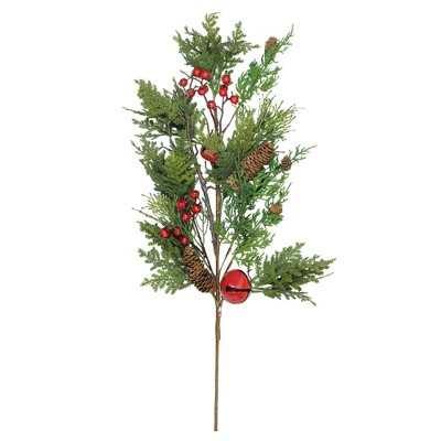 """Northlight 28"""" Green and Red Berries with Pine Cone Artificial Christmas Spray"""