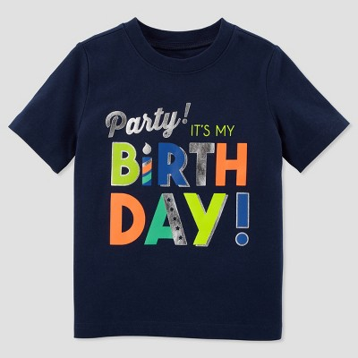 Toddler Boys' Birthday Boy Short sleeve T - Shirt - Just One You® made by carter's Blue 3T