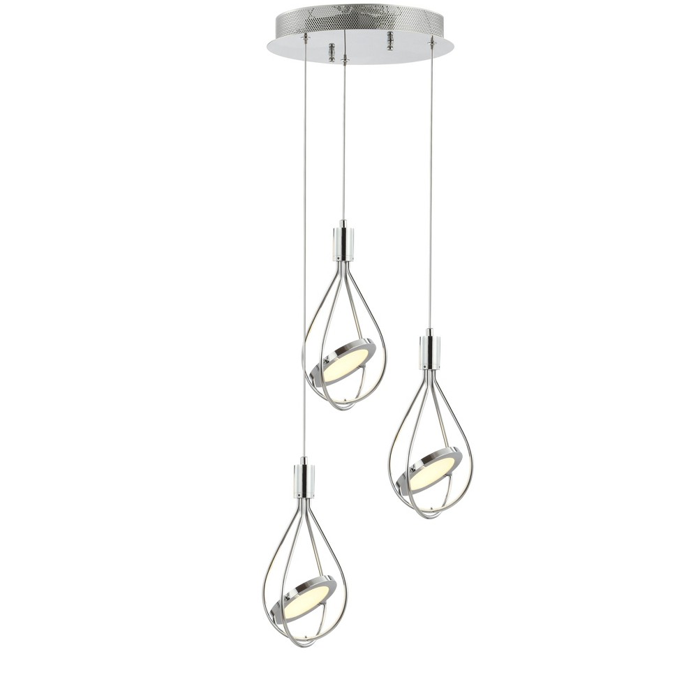 "Image of ""11.5"""" Orion Adjustable Modern Integrated LED Metal Pendant Chrome - JONATHAN Y"""