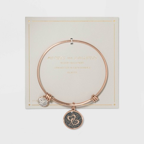 Stainless Steel Mothers and Daughters Double Heart Bangle Bracelet - Rose Gold - image 1 of 2