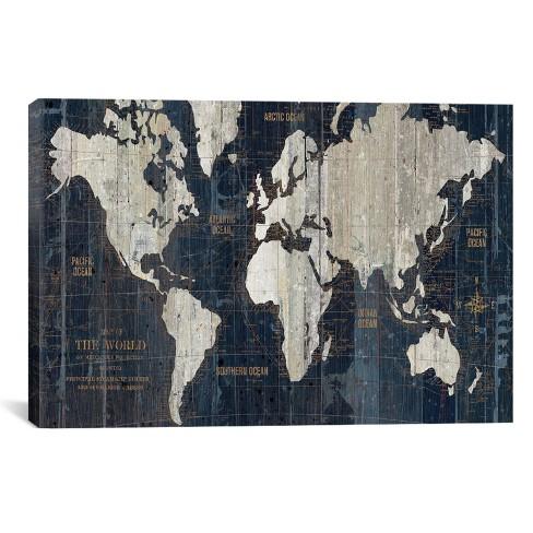 Old World Map Blue By Wild Apple Portfolio Canvas... : Target