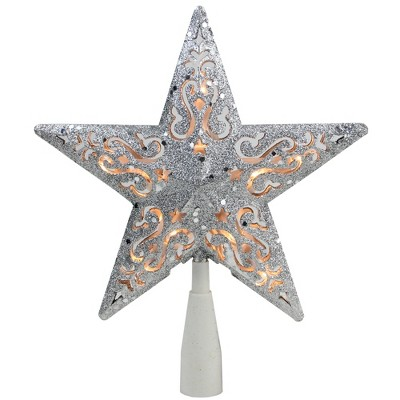 "Northlight 8.5"" Silver Glitter Star Lighted Cut Out Design Christmas Tree Topper - Clear Lights"