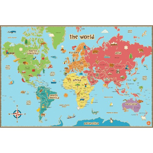 Images Of A World Map.Wallpops Kids World Map Target
