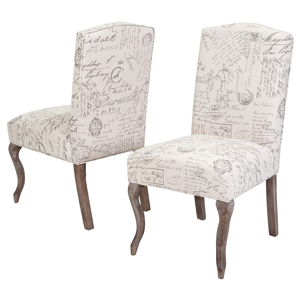 Crown Top French Script Fabric Dining Chair Wood/Beige (Set of 2) - Christopher Knight Home