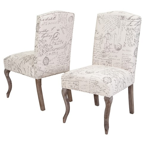 Crown Top French Script Fabric Dining Chair Wood Beige Set Of 2 Christopher Knight Home