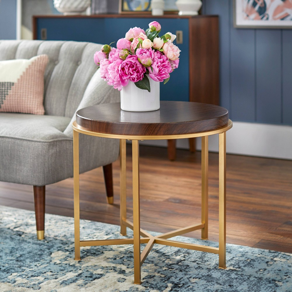 Image of Bohdi End Table Walnut/Gold - angelo : Home