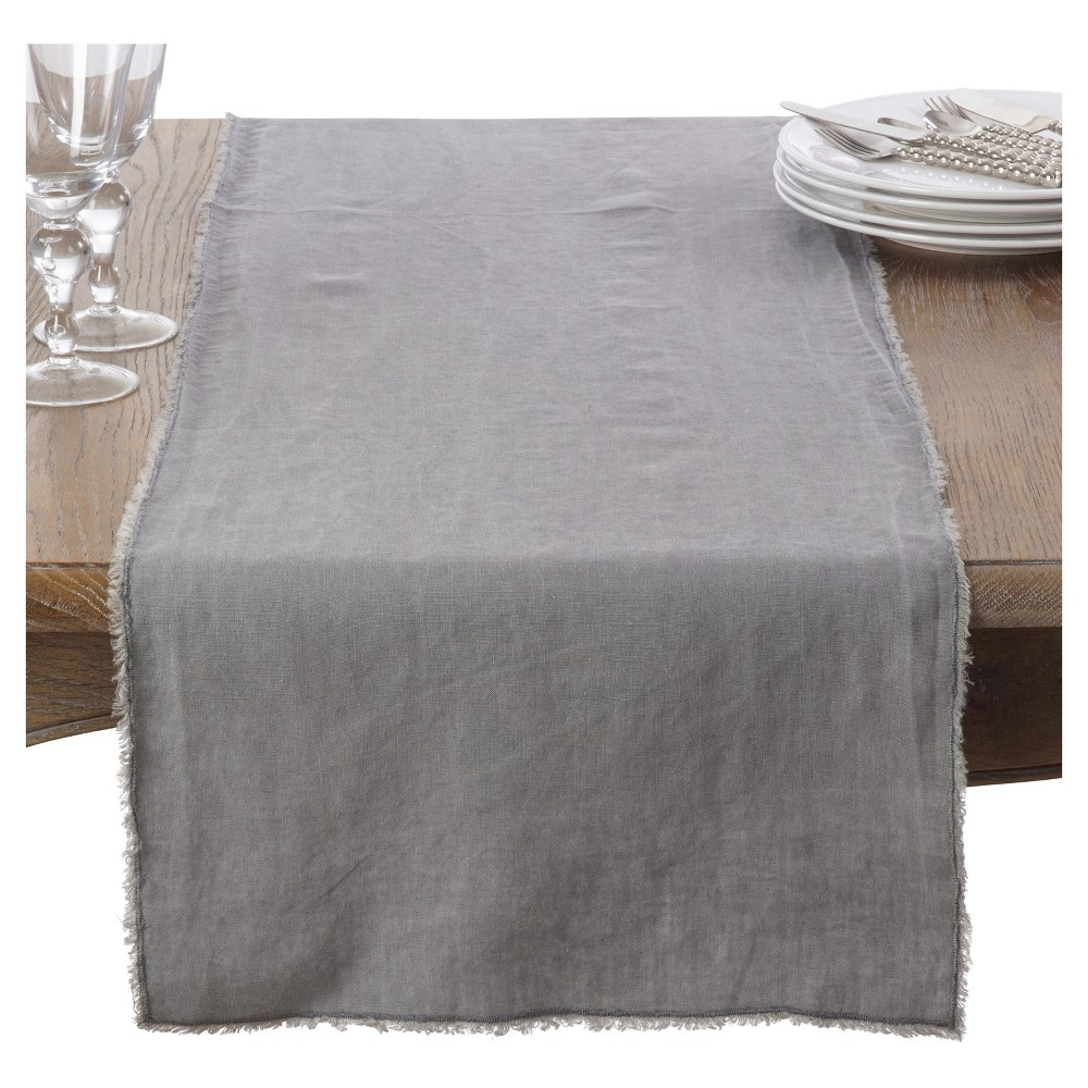 16 34 X72 34 Fringed Design Stone Washed Table Runner Pewter Saro Lifestyle