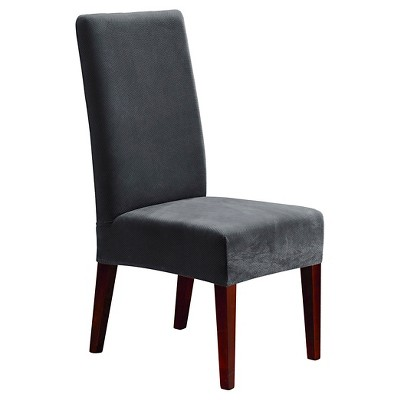 Stretch Oxford Short Dining Room Chair Slipcover Gray   Sure Fit