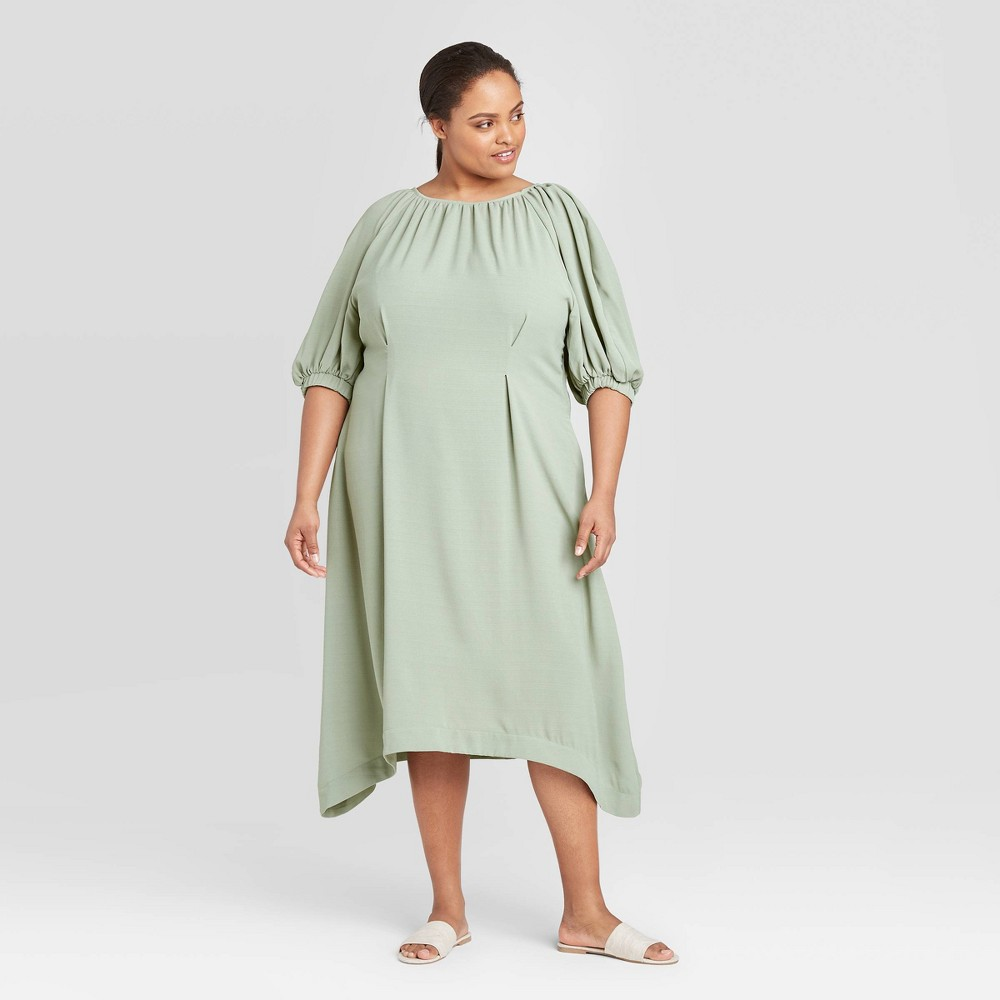 Women's Plus Size Balloon Elbow Sleeve Dress - Prologue Green 3X was $34.99 now $24.49 (30.0% off)