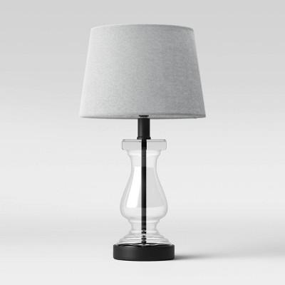 Glass Column Table Lamp Linen Shade - Threshold™