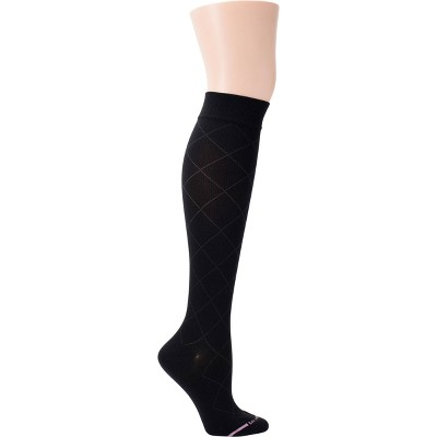 Dr. Motion Women's Mild Compression Solid Diamond Knee High Socks - Black 4-10