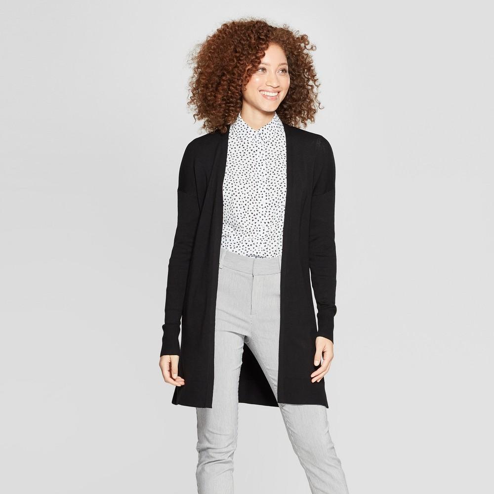 Women's Long Sleeve Open Cardigan Sweater - A New Day Black L