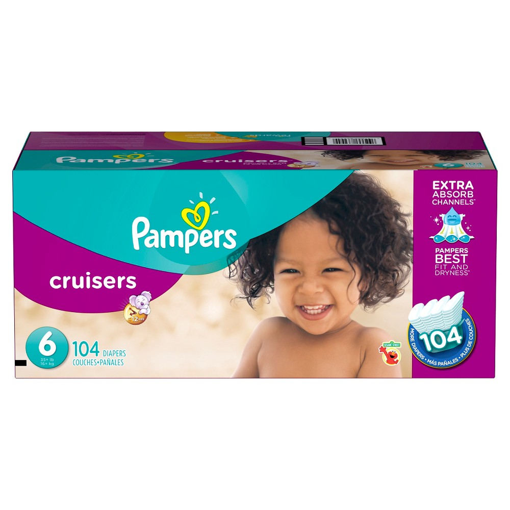 Pampers Cruisers Diapers Economy Plus Pack Size 6 (104 ct)