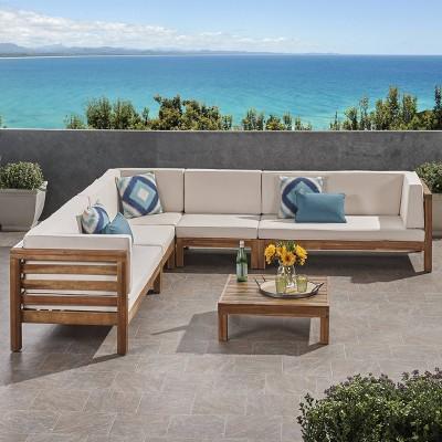 Oana 6pc Acacia Wood Sectional Sofa Set Teak/Beige - Christopher Knight Home