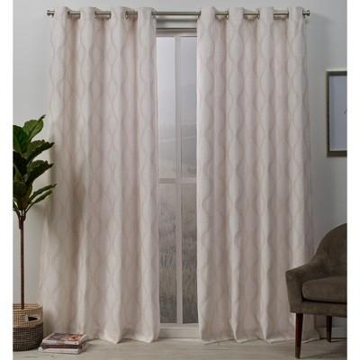 "96""x54"" Stark Medallion Textured Grommet Top Blackout Window Curtain Panels Blush - Exclusive Home"