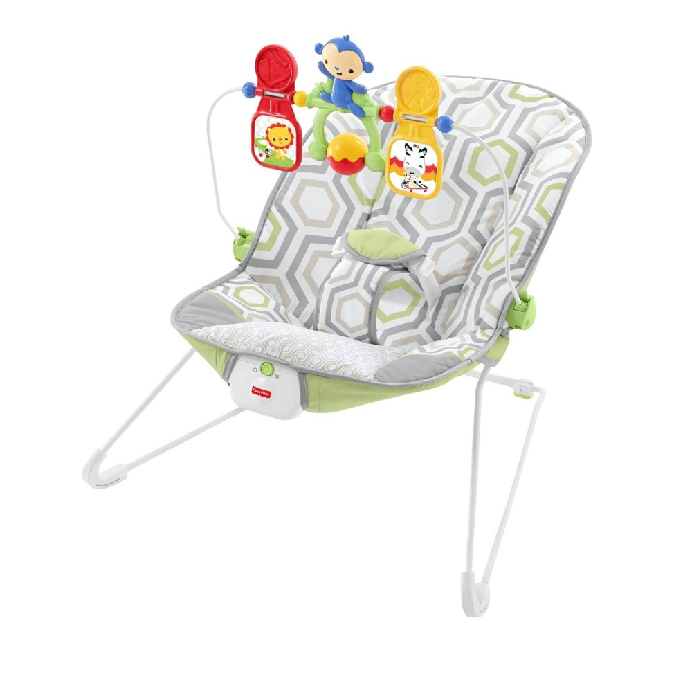 Image of Fisher-Price Bouncer - Geometric Meadow, Green Gray
