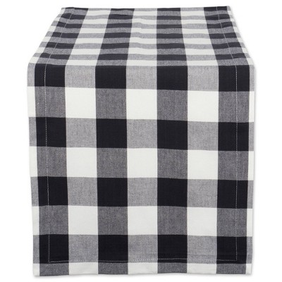 "72"" x 14"" Cotton Buffalo Check Table Runner Black - Design Imports"